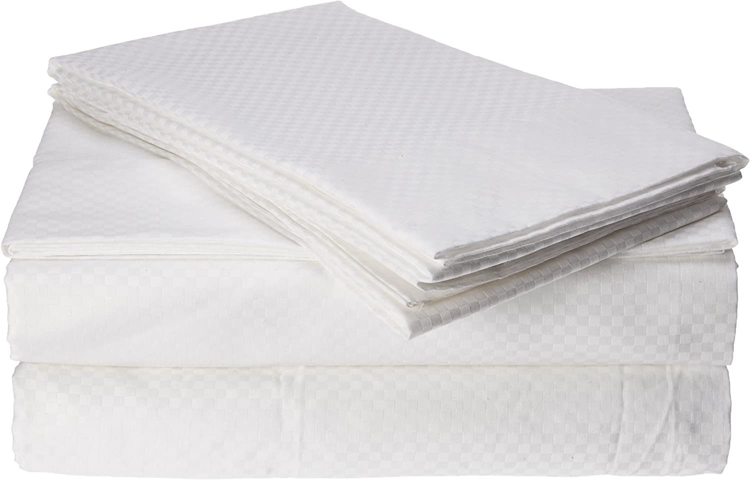 Natural Comfort Luxury Home 300 Thread Count 100-Percent Cotton Checker Pattern Sheet Set, King