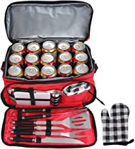 POLIGO 12pcs Stainless Steel BBQ Grill Tools Set with Red Insulated Waterproof Storage Cooler Bag for Camping - Outdoor Barbecue Grilling Accessories Set Ideal Christmas Birthday Gifts for Men Women