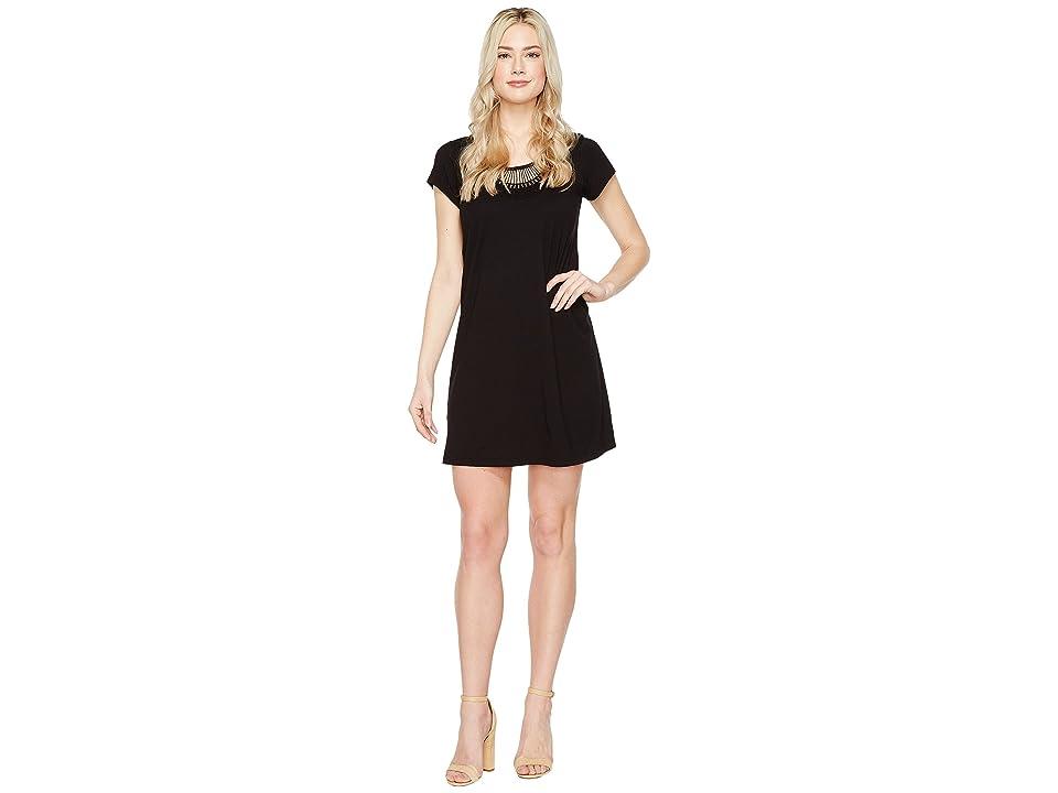Michael Stars Tee Dress w/ Crochet Trim (Black) Women