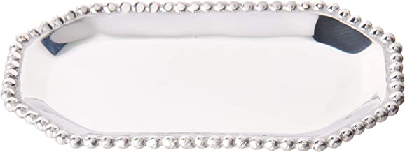 Mariposa 2343 Pearled Octagonal Statement Tray, One Size, Silver