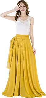 Summer Chiffon High Waist Pleated Big Hem Floor/Ankle Length Beach Maxi Skirt for Women Wedding Party Long Skirts