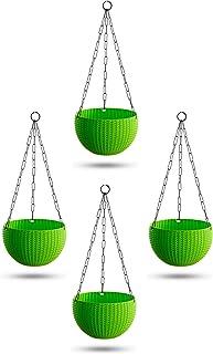 Garden Needs 100% Virgin Plastic Euro Plastic Basket | Set of 4 Hanging Planter, (22cm x 22cm x 24cm, Lemon Green)