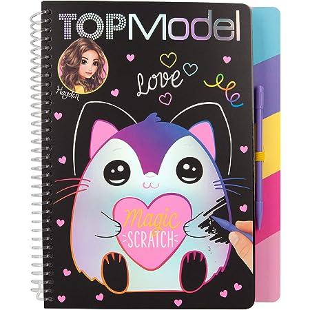 Depesche-DP-0011129 Libro para Colorear Magic Scratch, TOPModel, Aprox. 22 x 18,5 x 2 cm, Color carbón (11129)