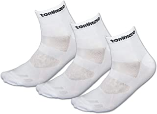 Tommaso Cycling and Spinning Socks Moisture Wicking 3 Pack, Black, White, High, Low Cut