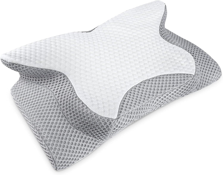Feagar Almohada Cervical para Dormir - Almohada Viscoelastica Ergonómica con Funda Lavable, Almohada Cervicals Ortopedica de Lado para Relajarse de Dolor del Cuello y Hombr (Blanco Gris)