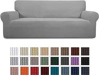 Easy-Going Stretch Sofa Slipcover 1-Piece Couch Sofa Cover Furniture Protector Soft with Elastic Bottom for Kids,Pet. Spandex Jacquard Fabric Small Checks(Sofa,Light Gray)