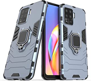 FTRONGRT Case for Oppo A94, Rugged and shockproof,with mobile phone holder, Cover for Oppo A94-Dark Blue