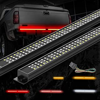 MICTUNING Triple Tailgate Light Bar Waterproof Plug-and-Play Aluminum Frame with Free 4-Way Flat Connector Wire - Amber Sequential Turn Signal, Red Brake/Running, White Reverse Lights for Pickup Truck