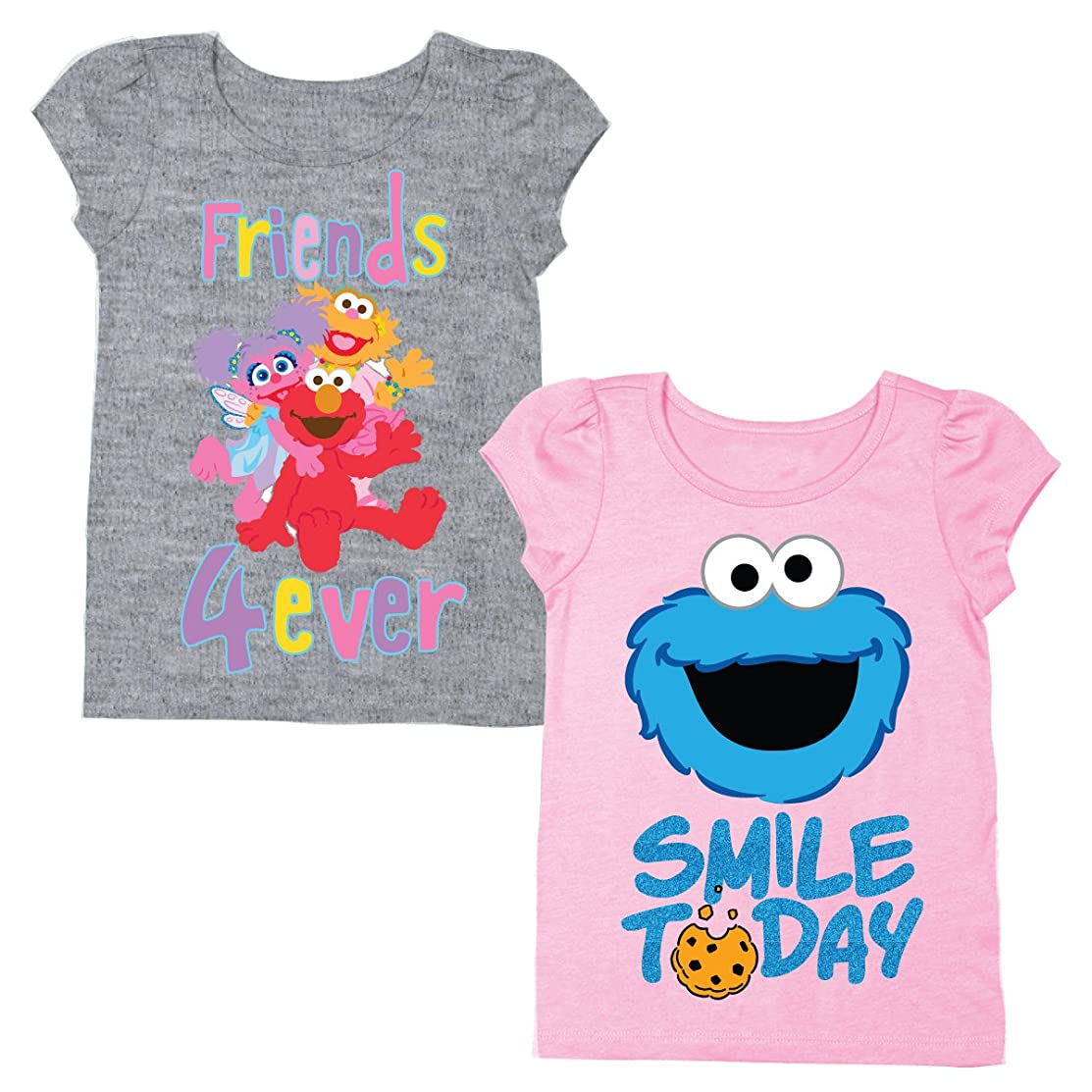 Sesame Street Short Sleeve Shirt – 2 Pack of Sesame Street Tees – Elmo, Cookie Monster & Others!