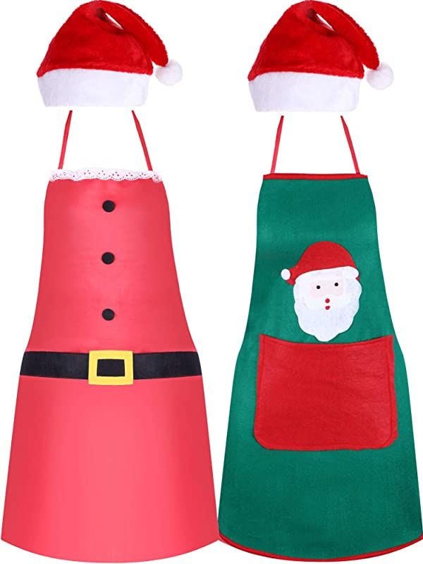Jovitec 4 Pieces Christmas Party Kits Includes Red Santa Hat Christmas Apron Santa Green Apron For Xmas Party