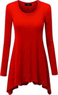 Lock and Love Women's Long Sleeve Asymmetrical Hem Trapeze Flared Casual Tunic Top S-3XL Plus Size_Made in USA
