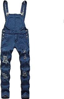 LUCKME Men's Dungarees Denim Suspenders Ripped Jeans Pants Slim-fit Denim Camouflage Bib Overalls Trousers Distressed Retr...
