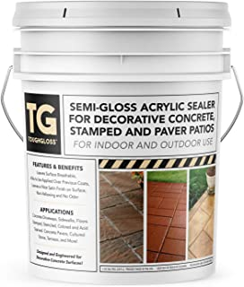 ToughGloss Concrete Sealer (Semi-Gloss) - #1 Easy Use Wet Look Acrylic Sealer for Driveways, Patios, Garage Floors, Walkways, Paver, and Other Concrete Surfaces - Protect Your Concrete