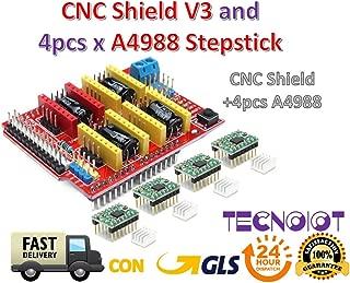 TECNOIOT CNC Shield V3 Expansion Board + 4pcs A4988 (Green Color) Stepper Motor Driver for 3D Printer