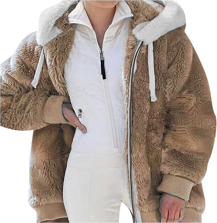 Women's Plus Size Winter Warm Faux Fur Full Zip Coat with Pockets, Ladies Solid Fleece Fuzzy Hoodie Jacket with Hooded