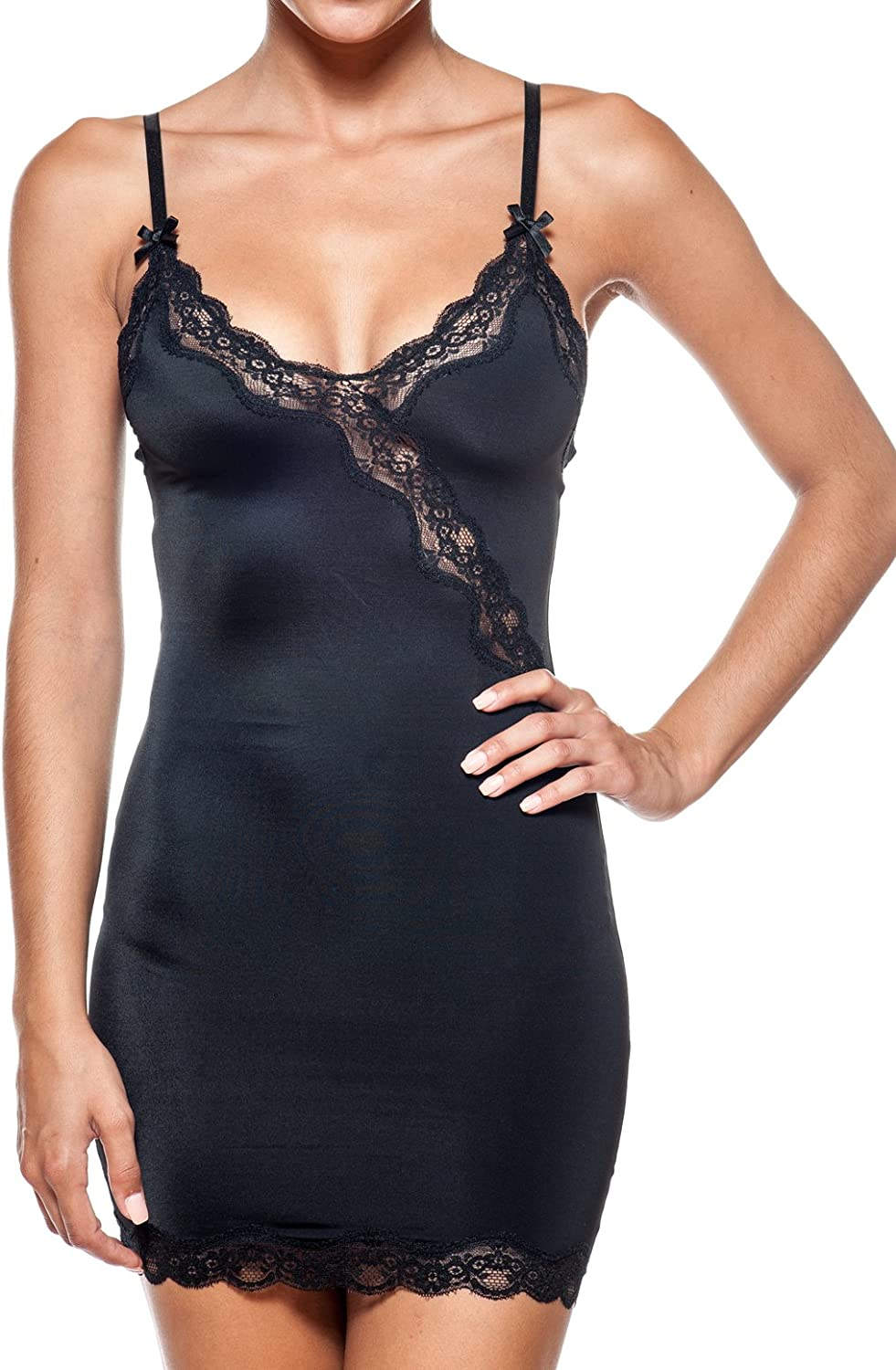 Body Beautiful Women's Shaping Full Body Slip with Lace Insert in Light Weight Soft and Silky Fabric.