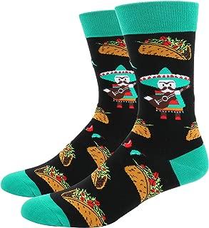 Men's Novelty Crazy Food Fruit Crew Socks, Funny Pineapple Avocado Taco Design