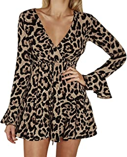 ce2023696214 FEDULK Clearance Winter Women's Dress Leopard Print Flare Sleeve V Neck Sex Midi  Dress