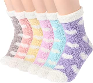 Plush Slipper Socks Women - Colorful Warm Fuzzy Crew Socks Cozy Soft 3 to 6 Pairs for Winter Indoor