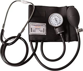 HealthSmart Manual Home Blood Pressure Monitor Kit with Standard Cuff and Stethoscope, Black
