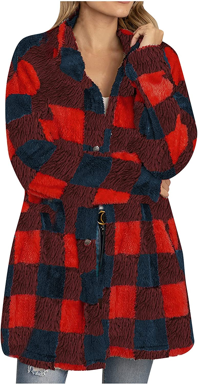 Women's Plaid Cardigan Stand Collar Long Sleeve Coat Jackets Soft Plush Button Down Coat Cardigan Fashion Long Cardigans