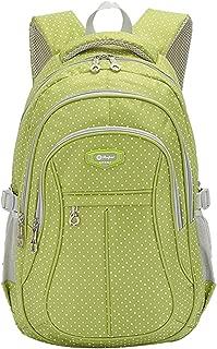 JiaYou Girl Multipurpose Dot Primary Junior High University School Bag Bookbag Backpack (Large, Green)