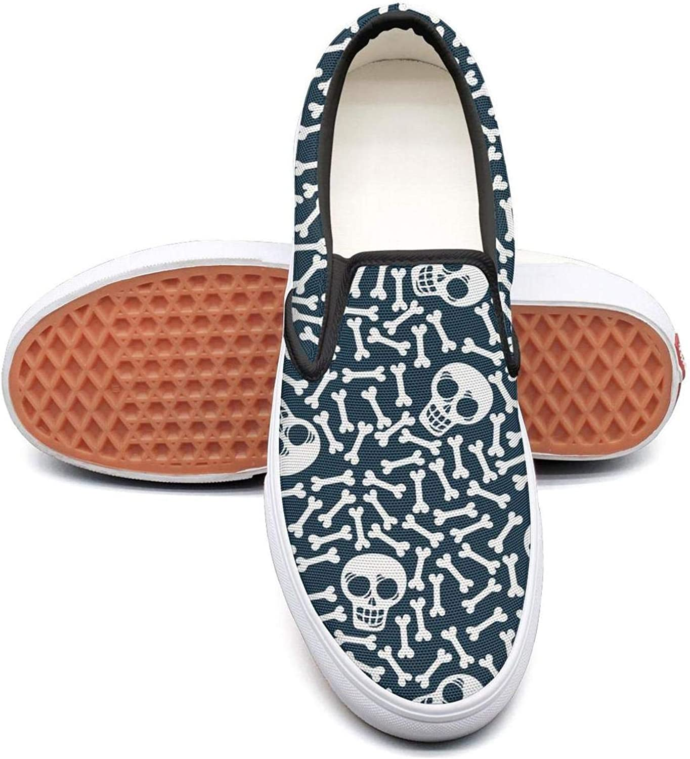 bluee Candy Los Muertos Skull Art Slip On Rubber Sole Sneakers Canvas shoes for Women Lightweight