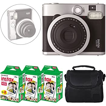 Fujifilm INSTAX Mini 90 Neo Classic Instant Camera (Black) + Fujifilm Instax Mini Instant Film (60 Exposures) + Camera Case – Deluxe Accessory Bundle