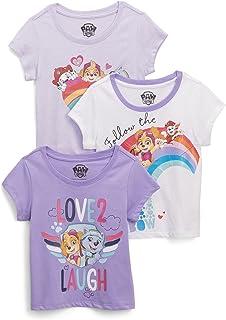 PAW PATROL Girls' Short Sleeve T-Shirt Bundle 3 Pack Tees