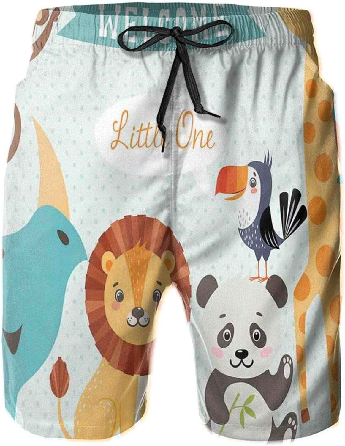 Welcome Little One Poster Design with Lion Panda Toucan Koala Birds and Monkey Swimming Trunks for Men Beach Shorts Casual Style,M