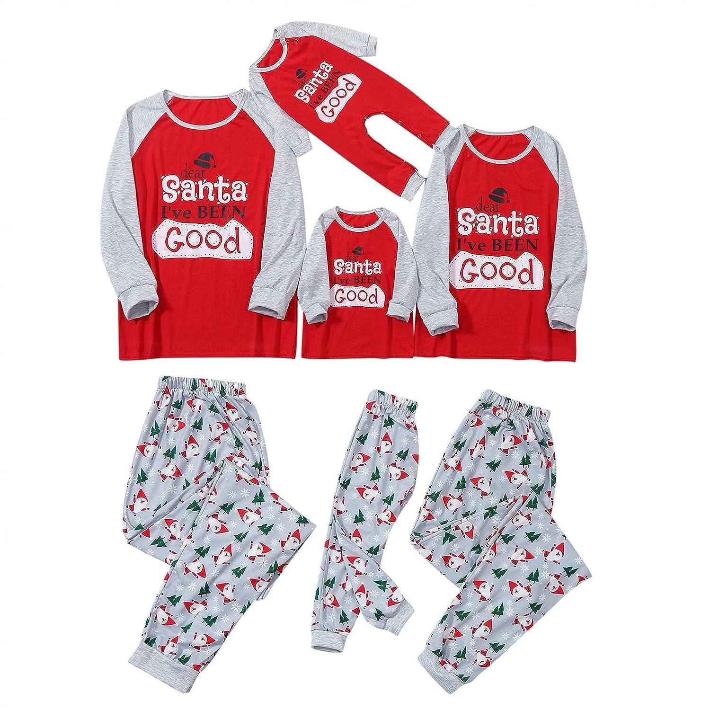 Padaleks Adults Pajamas Matching Letter Printed Sleepwear Top Pants Dad Mom Daughter/Son Outfits Christmas Pjs Set