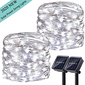 LiyuanQ Upgraded Solar Powered String Lights, 2 Pack 8 Modes 50 LED Solar Fairy Lights Waterproof 16ft Silver Wire Lights Outdoor Garden String Lights for Home Patio Yard Party Decoration (Cool White)