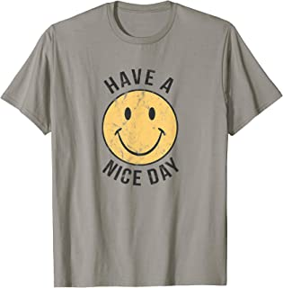 Mens 70's Retro T Shirt | Have a Nice Day Shirt | Happy Face