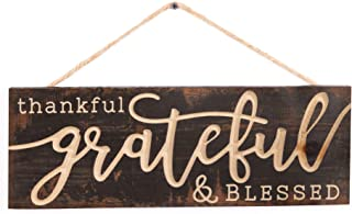 P. Graham Dunn Thankful Grateful Blessed Weathered Brown 16 x 6 Inch Pine Wood Carved Hewed Hanging Sign