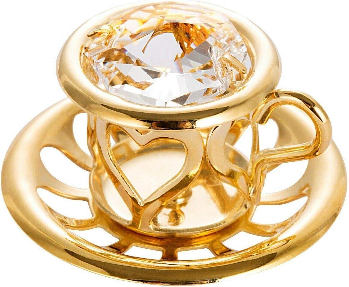 Figurine Crystal 新作 大人気 Element Studded Tea Cup 24K Plate Ornament Gold 激安卸販売新品
