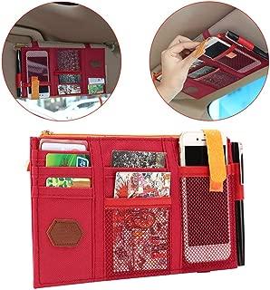 LELANCE Visor Storage Case Multifunctional Car Sun Visor Pocket Pouch with Zipper Cross-Border Organizer Bag Vehicle Truck Accessories (Red)