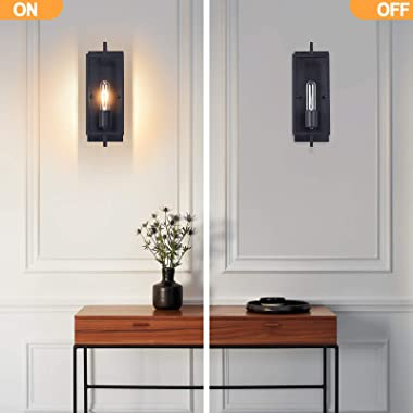 Industrial Wall Sconces Set of 2, Vintage Wall Light Fixture with E26 Base, Matte Black, Metal Rustic Wall Mount Lamp, Modern
