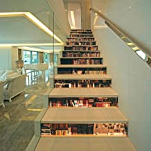 3D Bookcase Stair Riser Stickers Simulation Bookshelf Wall Stair Stickers Mural Wallpaper Removable Decals for Home Decor ...