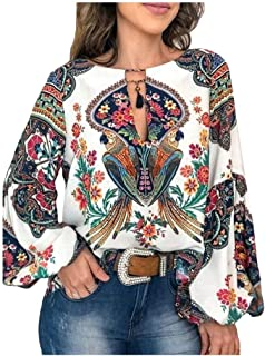 neveraway Women Blouse Casual Long Sleeve Floral Flare Sleeve Keyhole Top Shirt