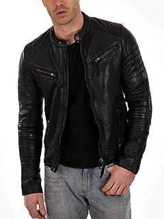 Mart De Cuero Men's Leather Jacket Black Soft Real Lambskin Motorcycle Coat