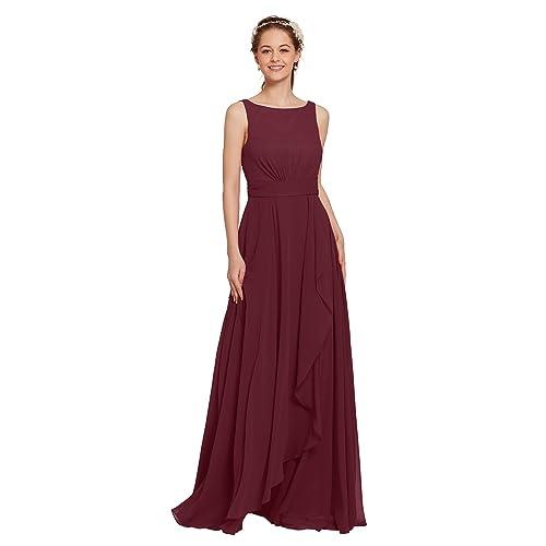 67b1b315e83 AW Bridal Long Bridesmaid Dresses Chiffon Formal Dresses A-Line Evening  Dresses for Women