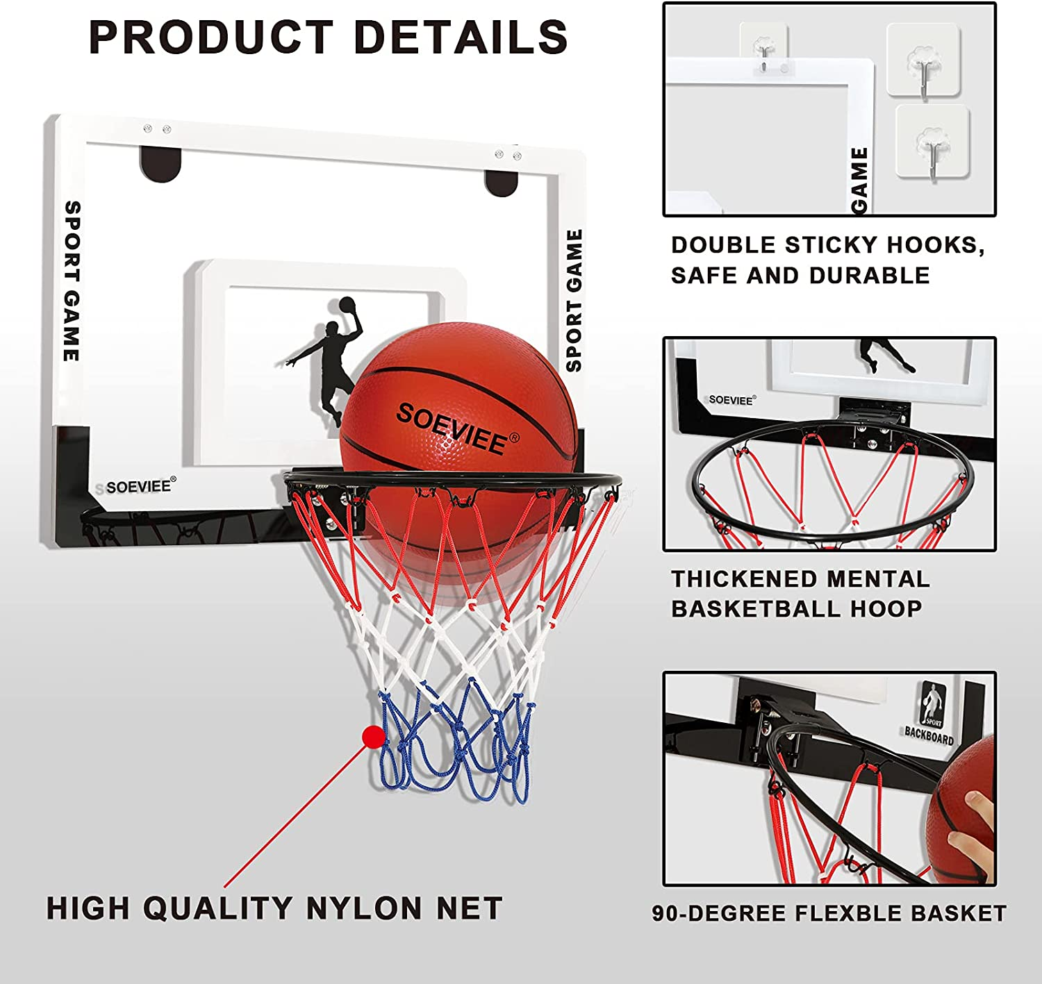 Large Indoor Basketball Hoop for Kids & Adult 23 X 16 Inch Board with 3 Balls and 2 Nylon net Over The Door & Wall Mount Indoor with Complete Basketball Accessories Perfect Christmas & Birthday Gifts : Sports & Outdoors