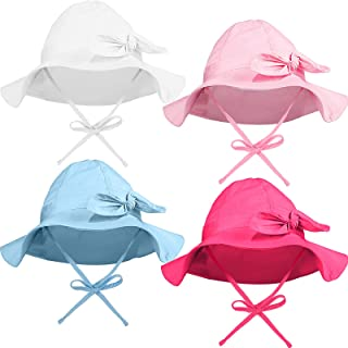 4 Pieces Baby Sun Protective Hats with Wide Brim Bowknot UV Sun Protection Cap Infant Summer Beach Hat