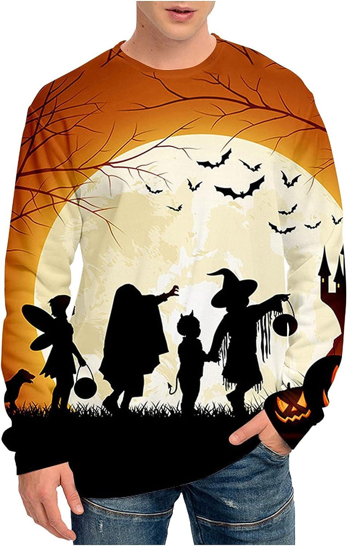 BEUU Fall Long Sleeve T-shirts for Mens, Halloween Pumpkin Bat Jack-o-Lantern Print Casual Loose Crewneck Basic Shirts