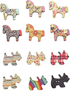 JETEHO 150 Pieces Dog & Horse Shape Wooden Buttons with 2 Holes Buttons Scrapbooking Craft Decorative Accessories