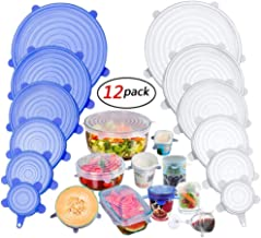 YOMYM Silicone Covers, 12 Packs of Different Sizes Silicone Cover for Foods, Reusable and Expandable Covers for Cookware and Freezer Cups