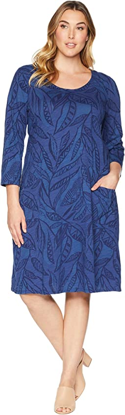 Plus Size Palm Leaves Dalia Dress