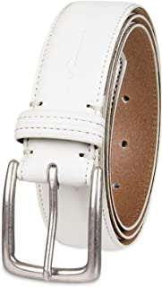 Columbia Men's Casual Leather Belt -Trinity Style for Jeans Khakis Dress Leather Strap Silver Prong Buckle