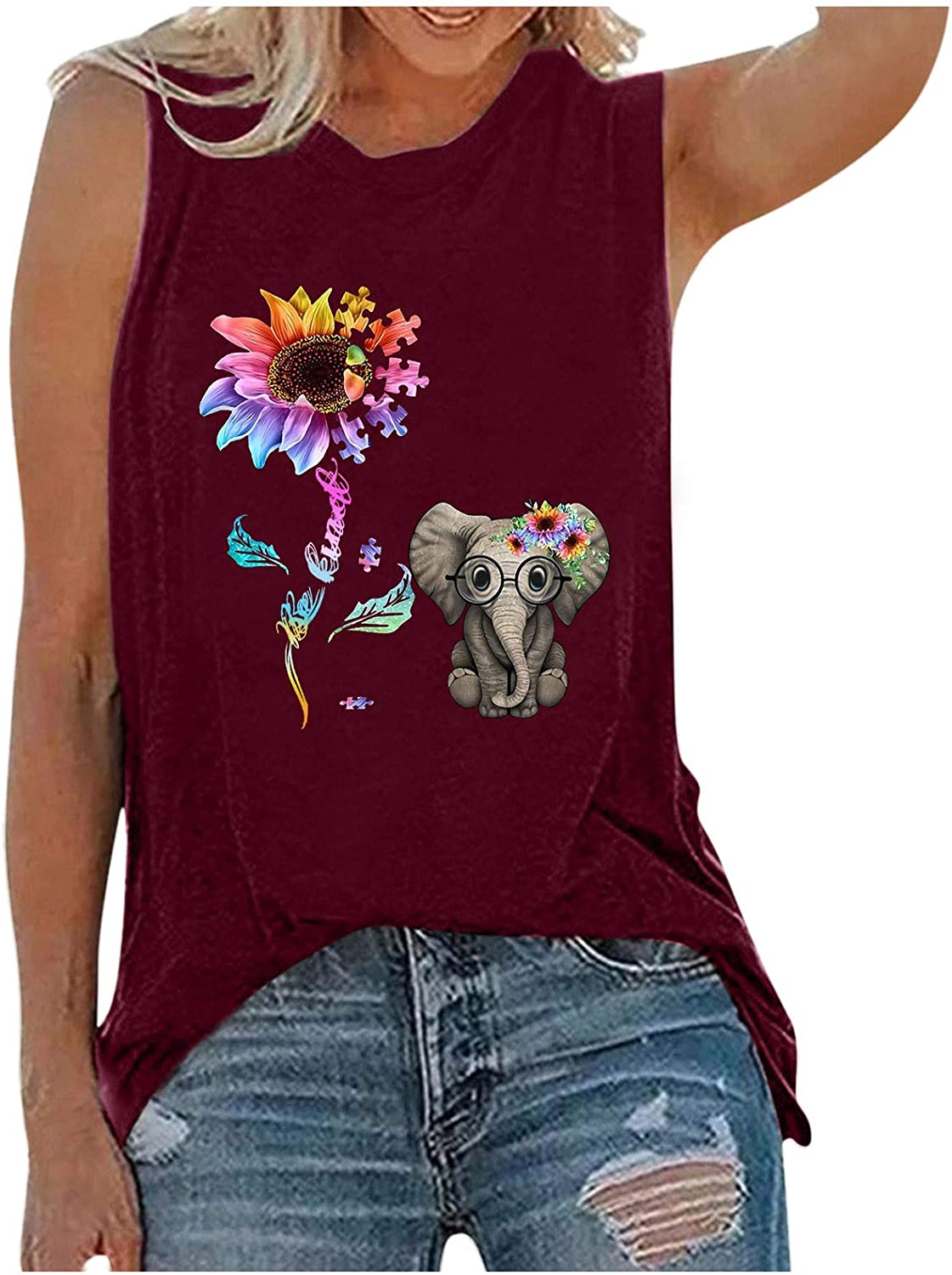 Tank Tops for Women,Womens Tops for Independence Day Women Sleeveless Tank Shirt Tunic