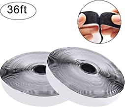 Jackwood 36 Feet Self Adhesive Hook and Loop Tape Roll Sticky Back Strip Adhesive Backed Fabric Fastener Mounting Tape for Picture and Tools Hanging Pedal Board Fastening (3/4 INCH, Black)